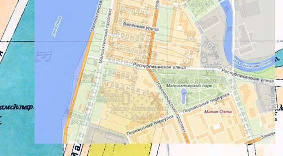 Наложение карты «Яндекса» на план 1925 года